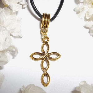 Gold Cross Necklace Unisex Adjustable Length 3780